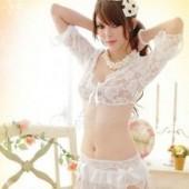 ☆送料無料】花柄ホワイトの ベビードール×Tバック×スカート